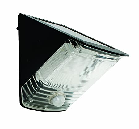 MAXSA Motion-Activated LED Wedge Light with built-in Solar panel for Entrances, Porches, Decks, Steps, Black 40236