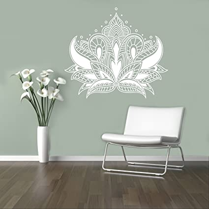 Henna Lotus Wall Decal Abstract Flowers Vinyl Sticker Henna Flower