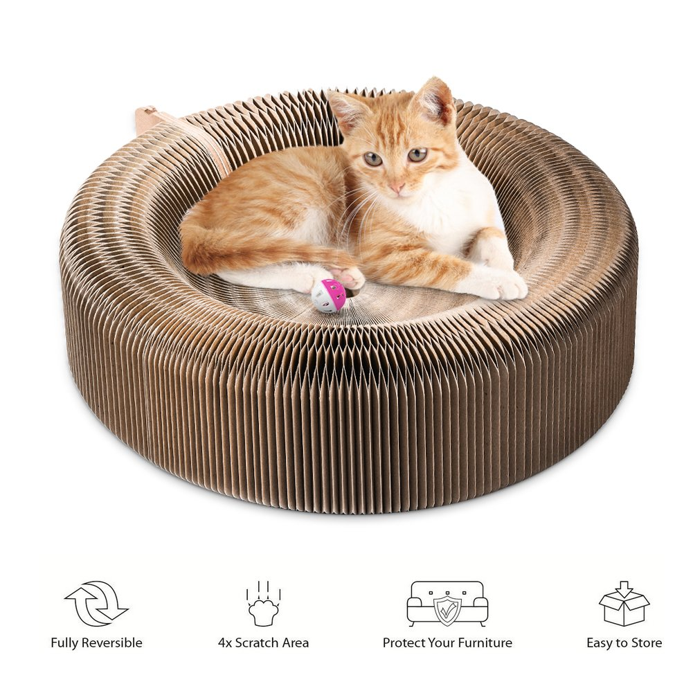 Cat ,Collapsible Cat Scratcher Lounge Post with Ball Toy Bell & Catnip, High Density Recycled Corrugated Kitty Scratching Pad Cats Turbo Toys by YOUTHINK