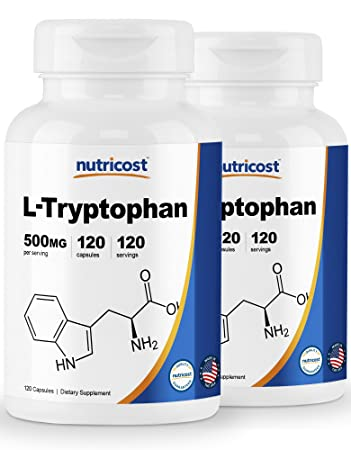Nutricost L-Tryptophan 500mg, 120 Capsules (2 Bottles)