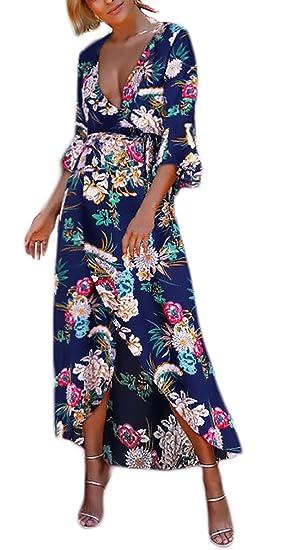Vestido Playa Mujer Elegantes Vintage Flores Estampado Vestido Fiesta Dresses Señoras Largo V Cuello Manga Corta Irregular Asimétrico Casual Moda Vestidos ...