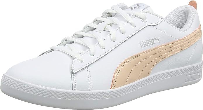 Puma Smash V2 L Sneakers Damen Weiß mit Pfirsich Streifen (White/Peach)