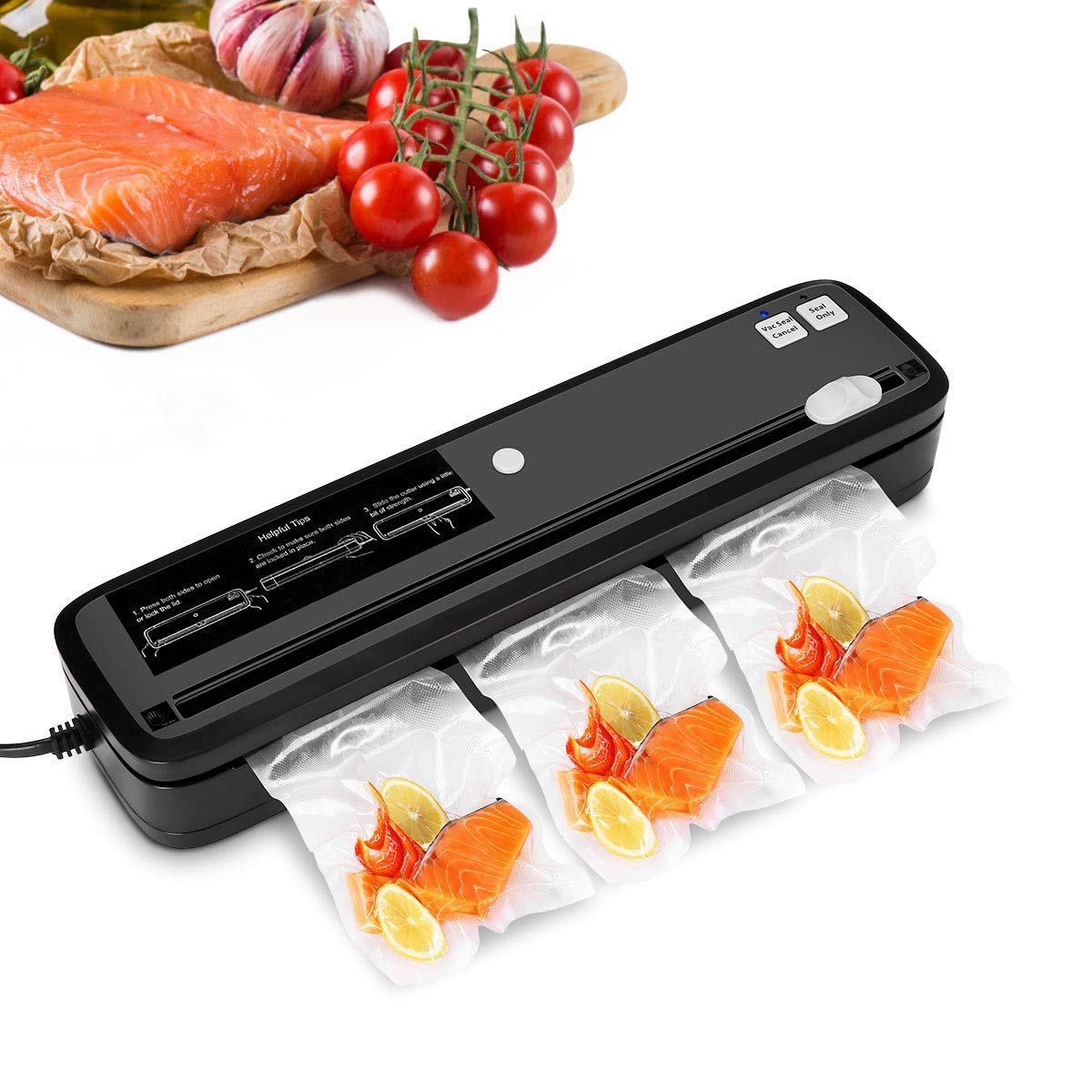 Vacuum Sealer, CUSIBOX Automatic Vacuum Sealing Machine with Cutter for Food Saver and Sous Vide, 3pcs Vacuum Sealer Bags(Black) by CUSIBOX