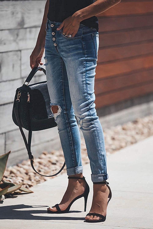 Minetom Jeans Straight Skinny Donna Vita Alta Pantaloni Tagliuzzati Strappati Larghi Vintage Casuale Slim Denim Pants