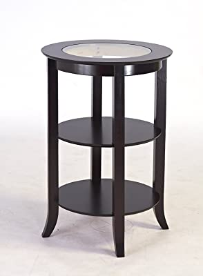 Indoor Multi-function Accent table Study Computer Desk Bedroom Living Room Modern Style End Table Sofa Side Table Coffee Table Wooden Round Glass Table