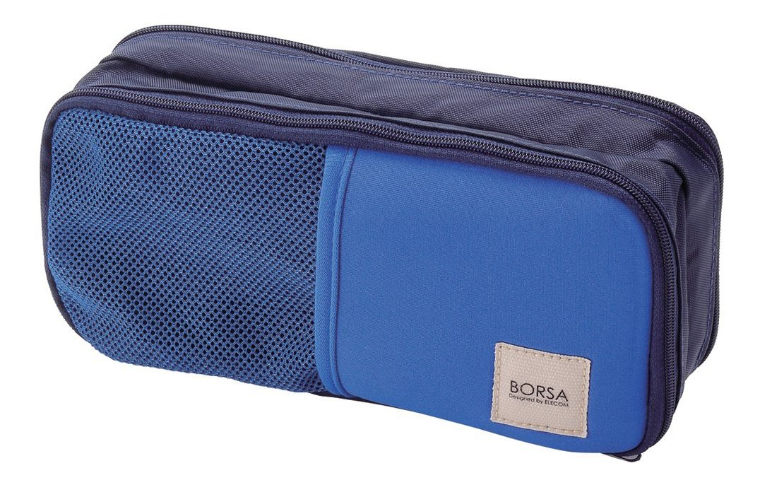 ELECOM Accessory Pouch General Purpose 3 pocket Stretch Fabric Light Navy BMA-GP10NV