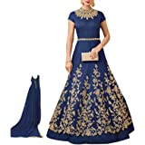 Ethnic Empire Women's Taffeta Silk Semi Stitch Blue Gown Anarkali Salwar Suit (Ethnic_ER106128_Blue_Free Size)