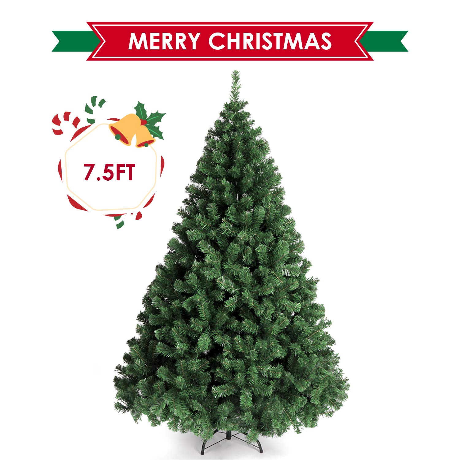 Amazon Com Amzdeal Christmas Tree 7 5ft Xmas Tree Spruce Artificial Christmas Tree Full Fake Tree With Stable Stand Base 1346nch Tips Easy To Embly