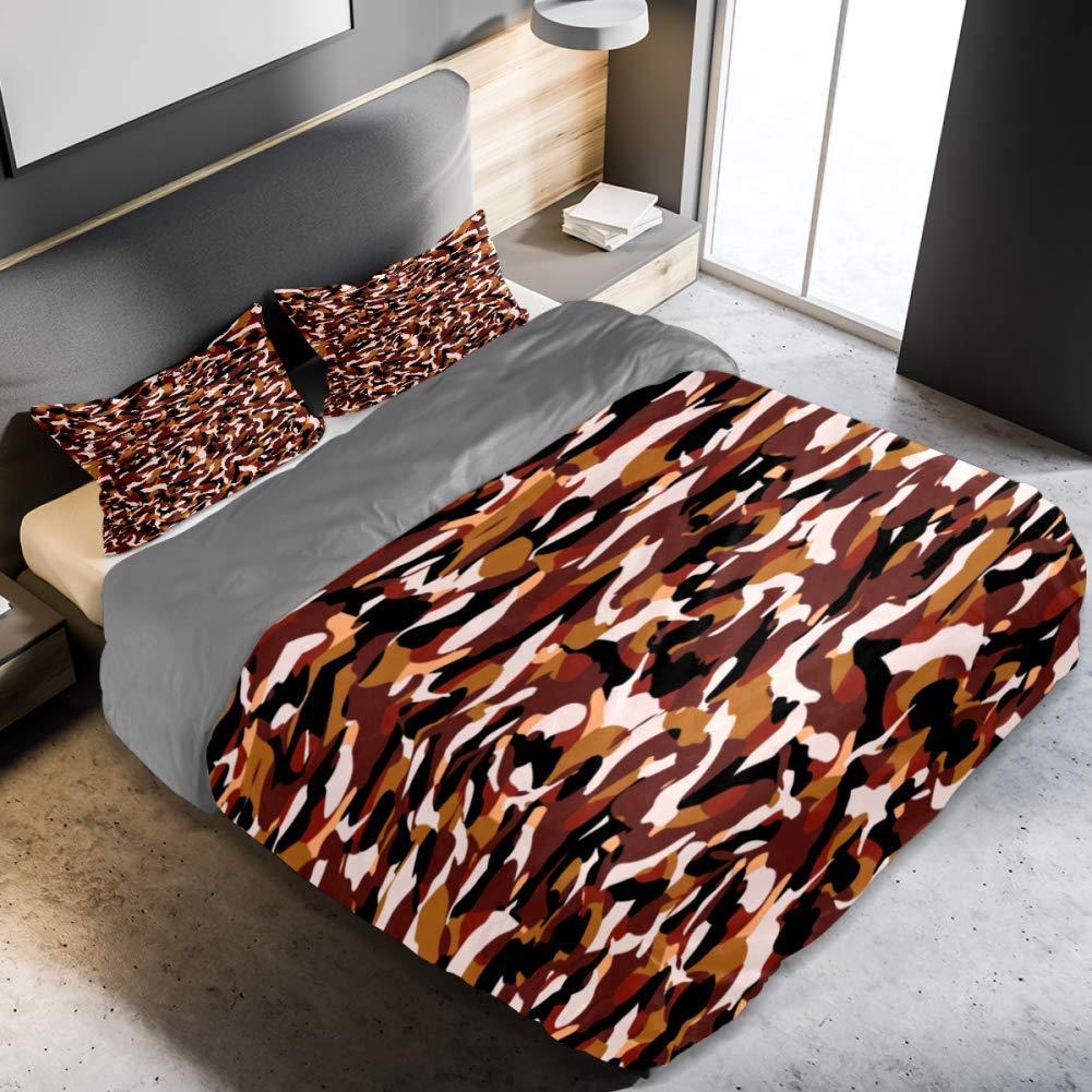 BOLIMAO 3 Pieces Multicam Camouflage Texture Duvet Cover Set (1 Duvet Cover + 2 Pillowcases) Queen Size Soft Breathable Bedding Sets for Women Adult Teens Men
