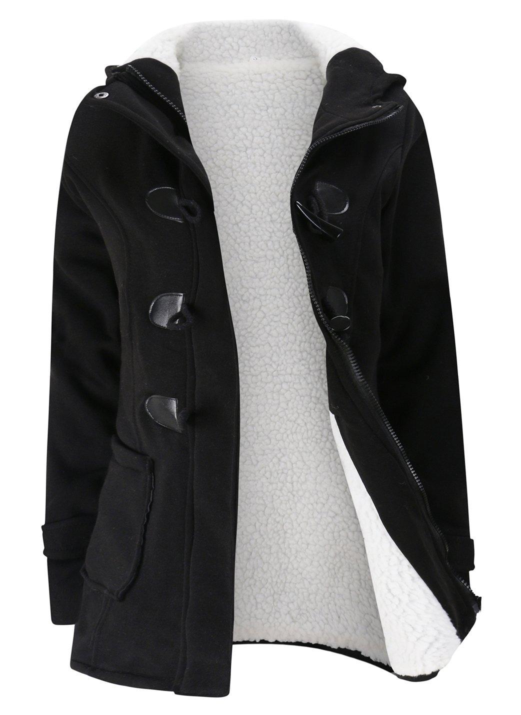 Gihuo Women's Casual Fleece-Lined Winter Warm Coat Hooded Jacket (X-Large, Black)