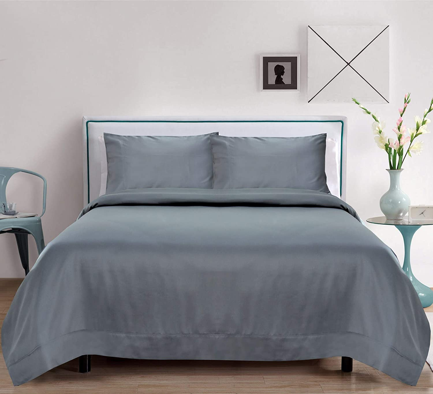 Amazon Com Linenwalas Rayon Duvet Cover With Zipper Grey Derived