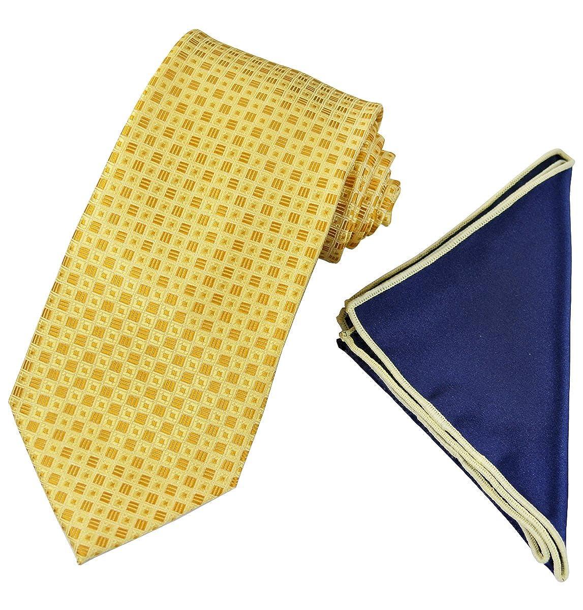 Blue Mens Tie with Contrast Pocket Square Set