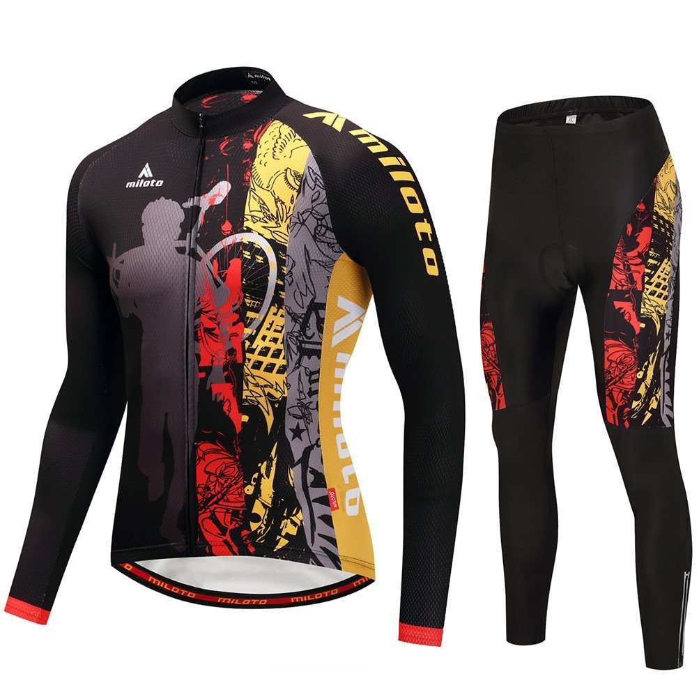 Uriah Men's Cycling Jersey and Pants Sets Long Sleeve Reflective Miloto