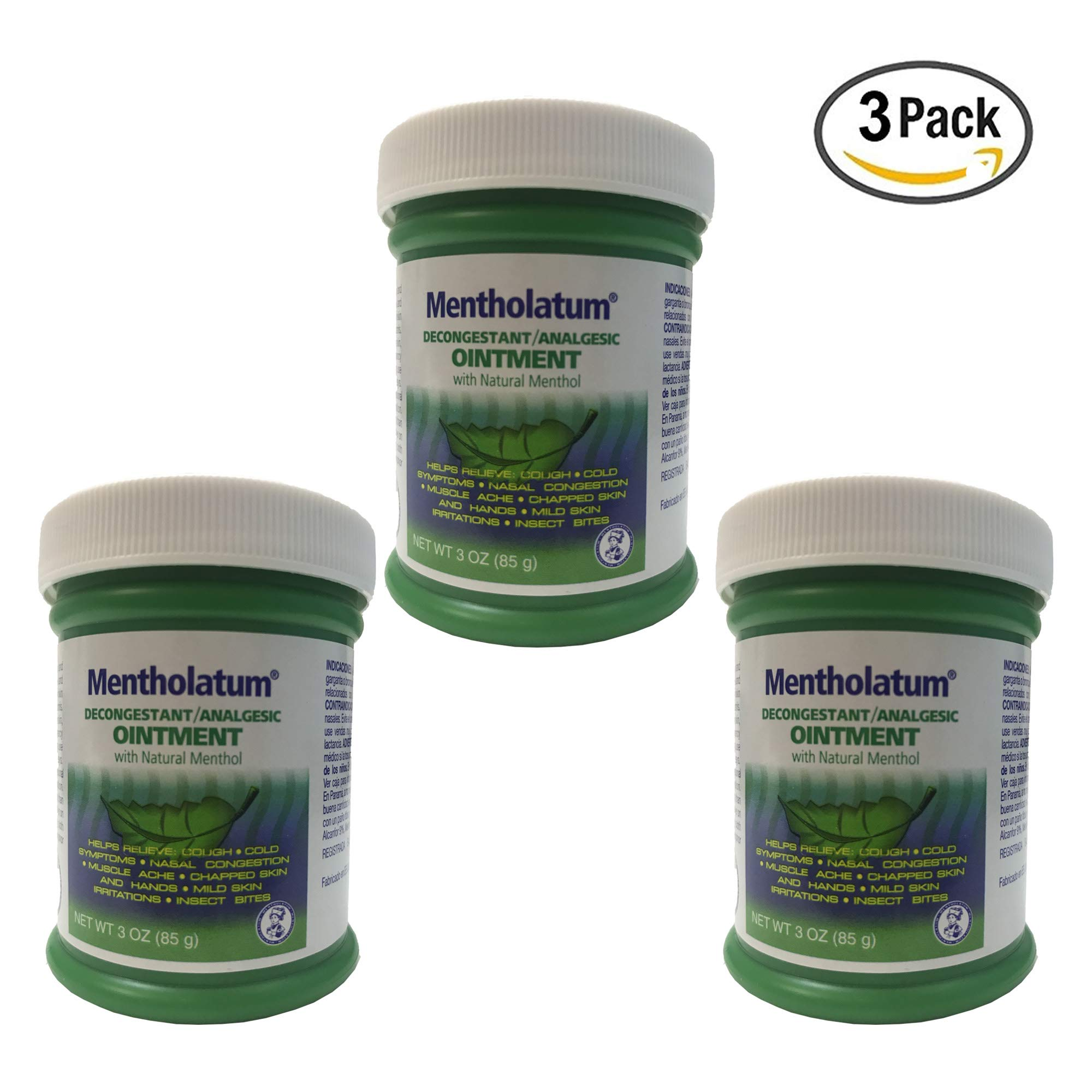 Mentholatum Decongestant/Analgesic Ointment with Natural Menthol 3 Oz (Pack of 3) by Mentholatum