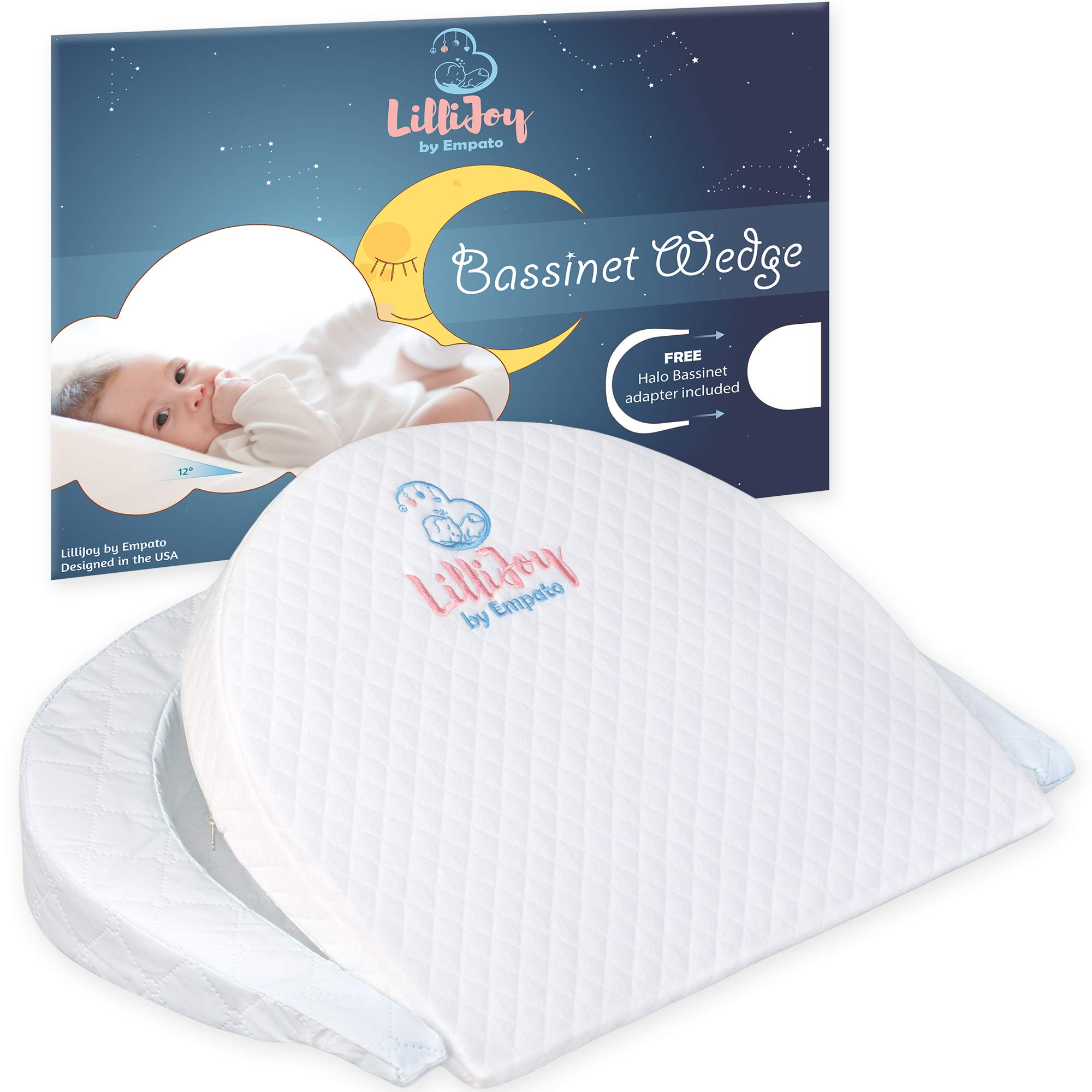LilliJoy Premium Bassinet Wedge Pillow for Baby | Fits Halo Bassinet | 12˚ Incline Sleep Positioner for Elevated Head & Torso Support | Anti Reflux Sleeper for Infant or Newborn Colic & Congestion