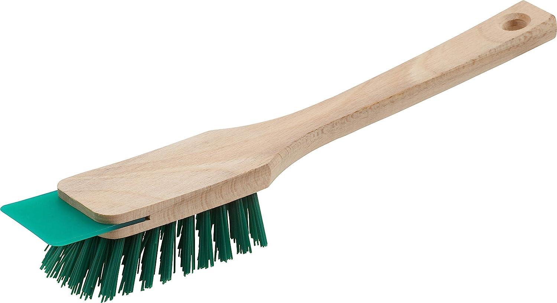 Meister 4360350 4360350-Cepillo para cortacésped (con rascador, cerdas robustas de plástico y mango de madera largo), color verde