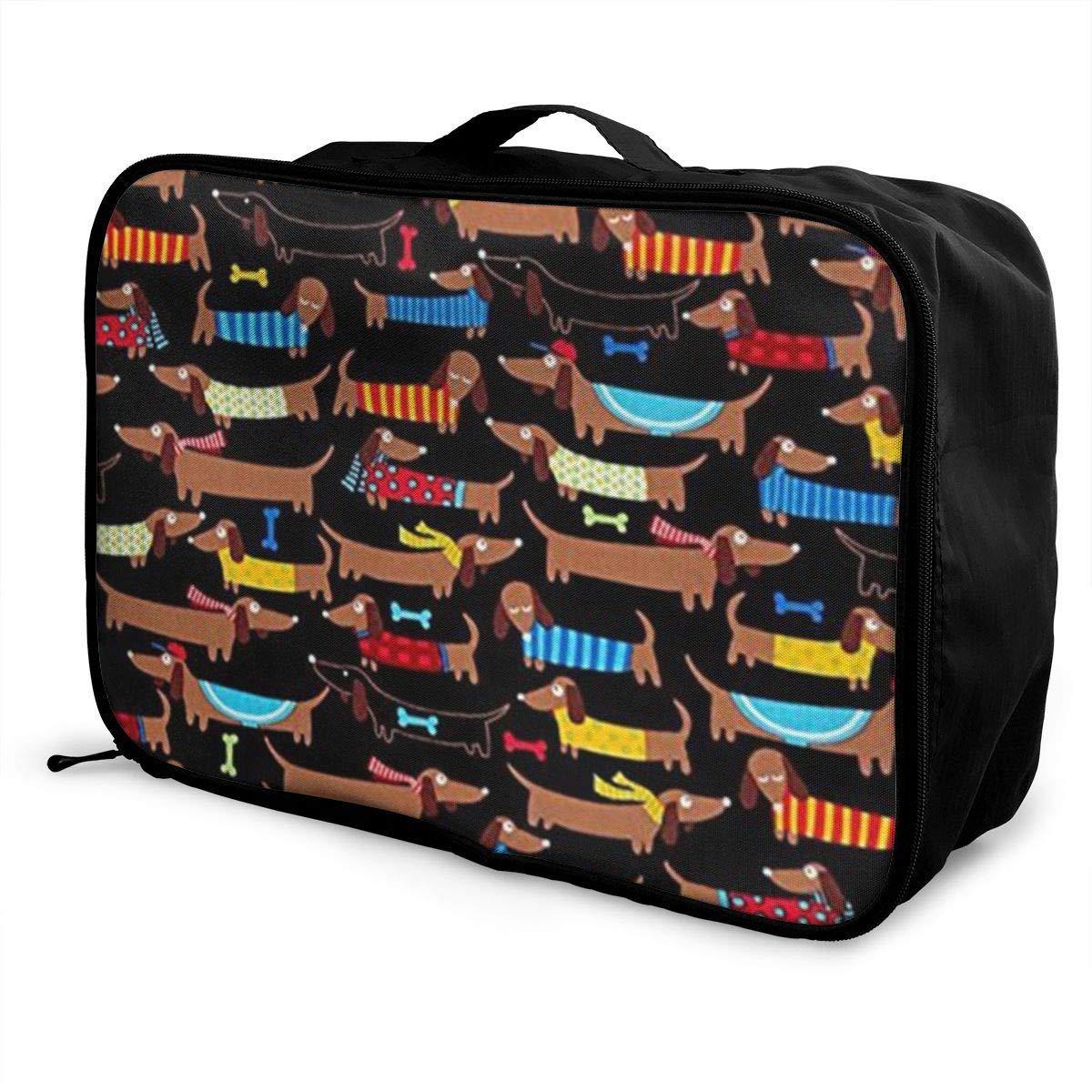 ADGAI I Love My Dog Dachshunds Canvas Travel Weekender Bag,Fashion Custom Lightweight Large Capacity Portable Luggage Bag,Suitcase Trolley Bag