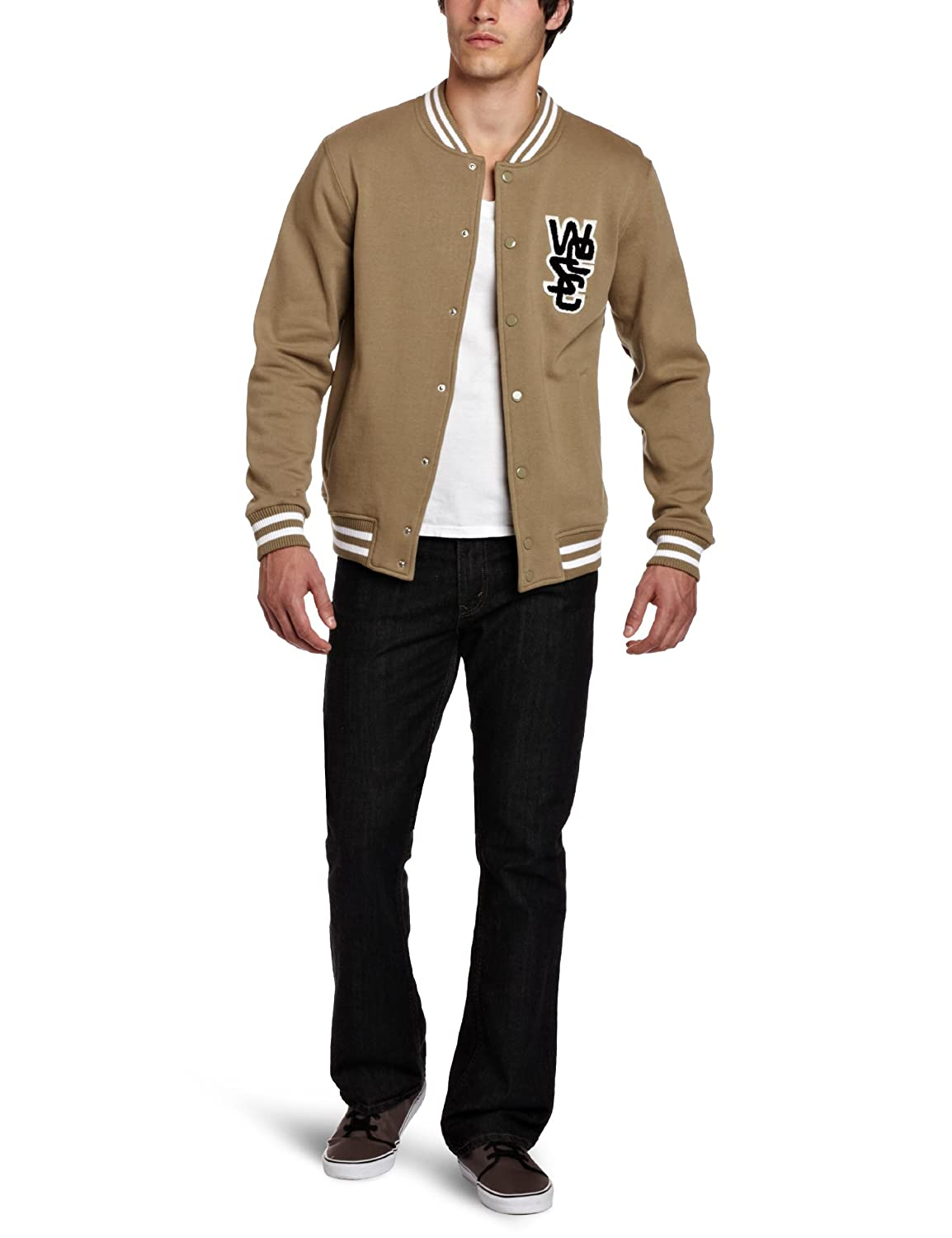 af7edcdd5ab8b Amazon.com: WeSC Men's Warren Baseball Jacket, Dusty Beige, Large: Clothing