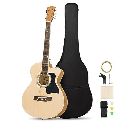 Amazon Com Artall 39 Inch Handmade Solid Wood Acoustic Cutaway