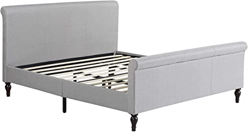 Home Life Premiere Classics Cloth Light Grey Silver Linen 45 Tall Headboard Sleigh Platform Bed