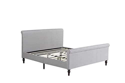 Home Life Premiere Classics Cloth Light Grey Silver Linen 45 Tall Headboard Sleigh Platform Bed with Slats King - Complete Bed 5 Year Warranty Included 017