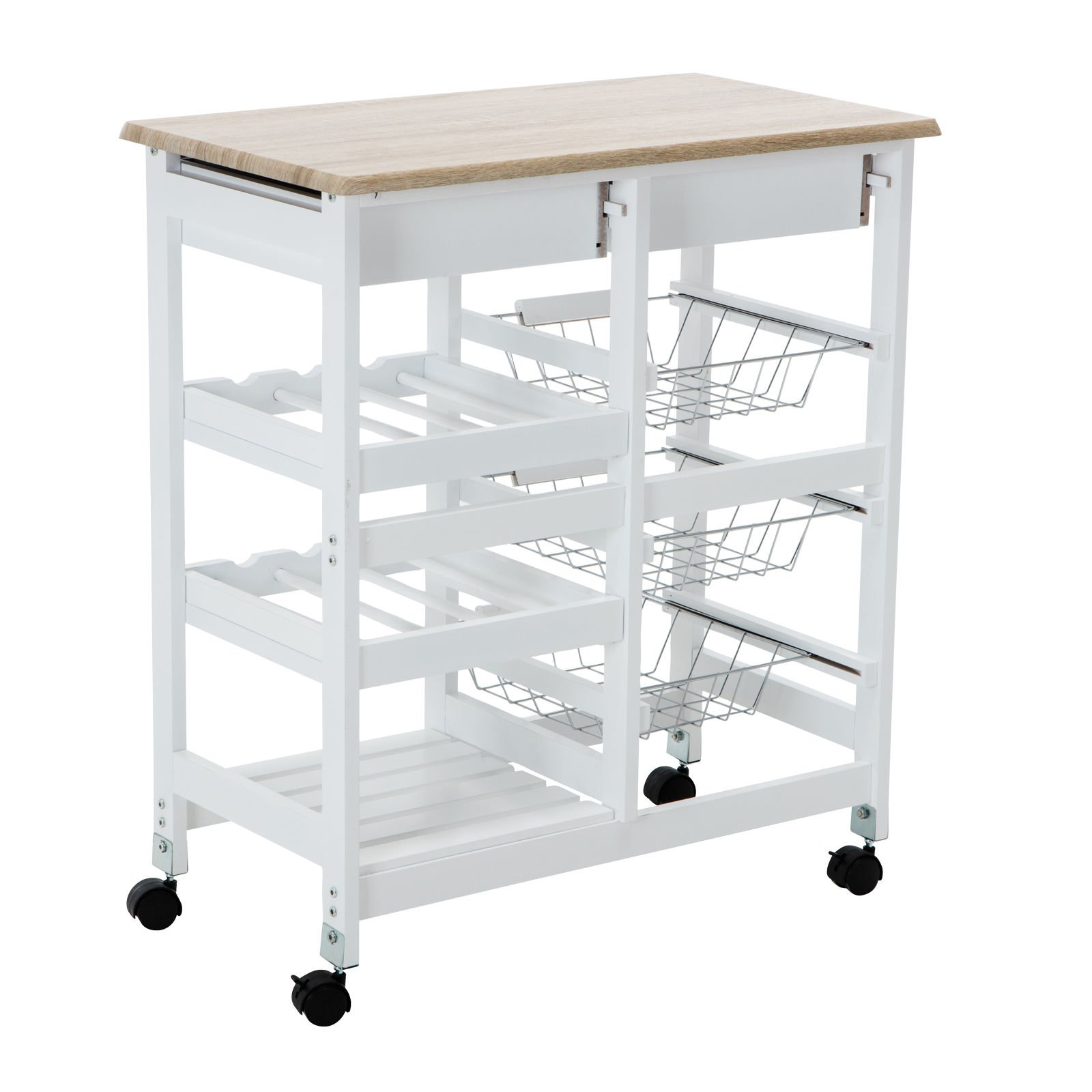 Portable Oak Kitchen Island Cart Trolley Rolling Storage Dining Table 2 Drawers By Allgoodsdelight365