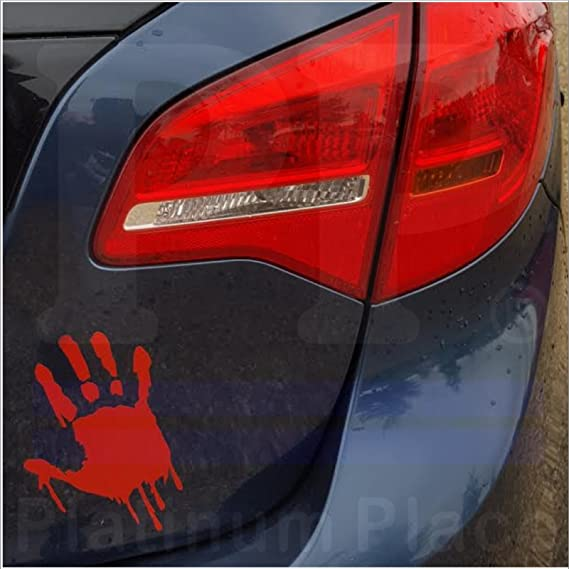 1 x bloody hand design red blood soaked cut vinyl sticker zombiekillermurder window or external bumperbobywork decal sign funny novelty car sticker