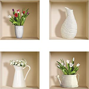 the Nisha Art Magic 3D Vinyl Removable Wall Sticker Decals DIY, Set of 4, White Vase and Green Plants 407