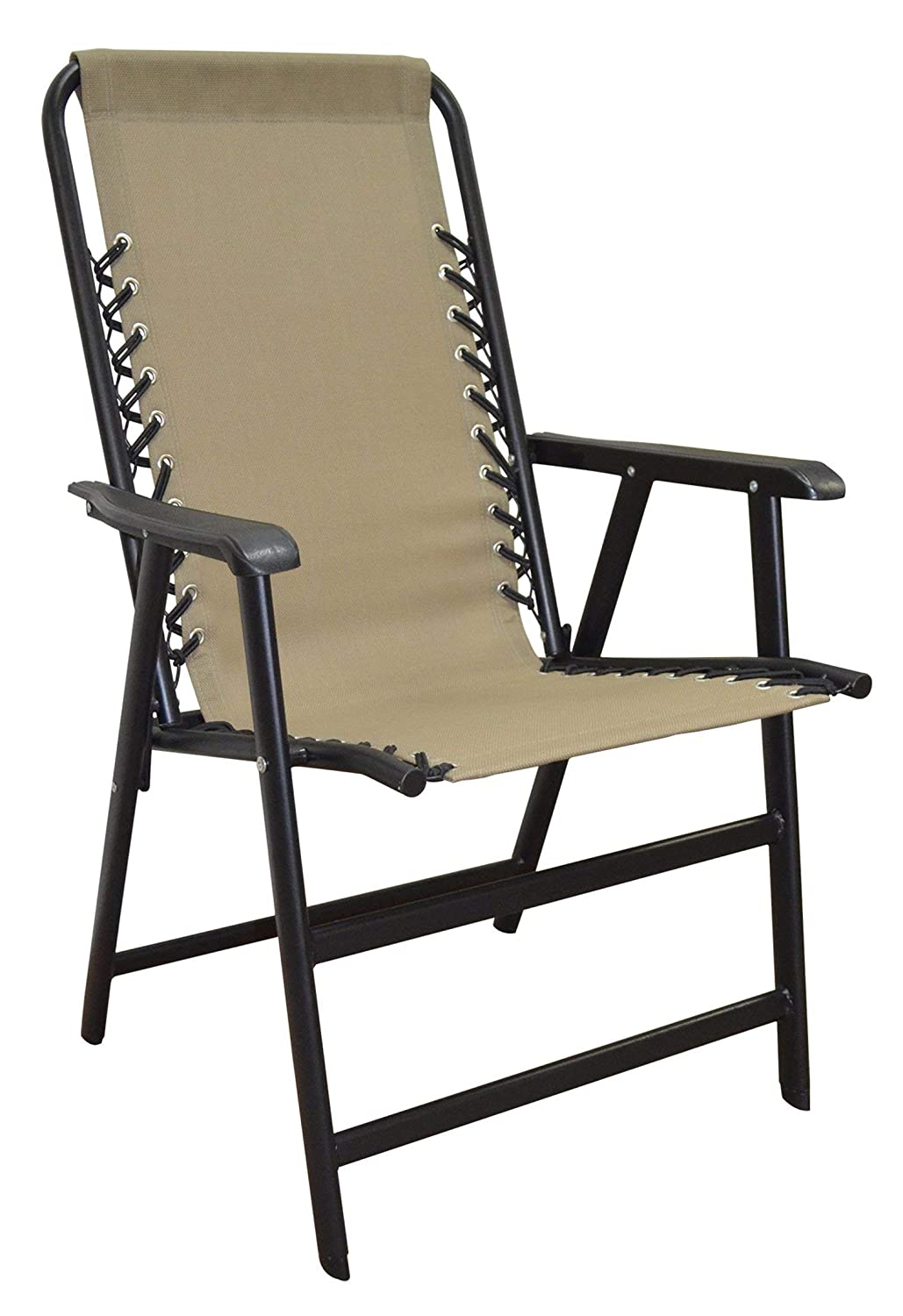 Caravan Sports Suspension Folding Chair, Beige Renewed