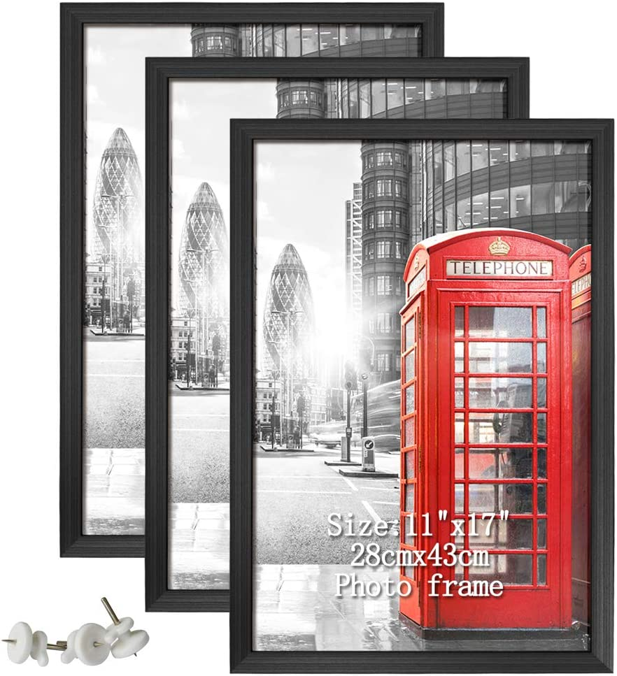Calenzana 11x17 Poster Picture Frames Black Photo Frame 11 x 17 Set, Wall Hanging, 3 Pack