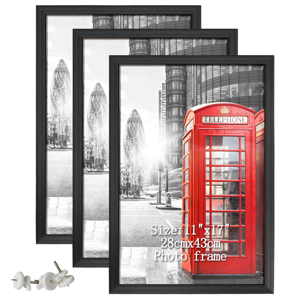 Artsay 11x17 Poster Picture Frames Black Photo Frame 11 x 17 Set, Wall Hanging, 3 Pack