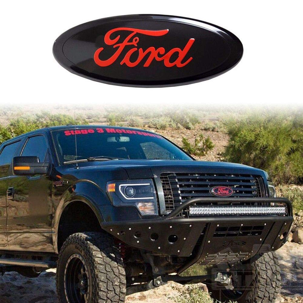 Front Grill Badge Name Plate Also Fits 05-07 F250 F350 11-14 Edge 11-16 Explorer 06-11 Ranger 3 Mounting Tabs Oval 9X3.5 Achoc FORD F150 Red Decal Badge or Tailgate Emblem WITH NUTS 2005-14