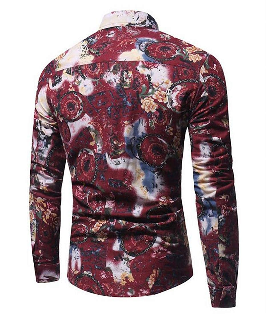 KLJR Men Long Sleeve Floral Club Hair Stylist Regular Fit Button Down Shirt