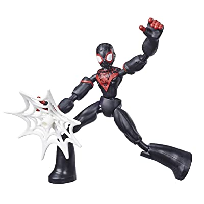 Spider-Man Marvel Bend and Flex Miles Morales Action Figure Toy, 6-Inch Flexible Figure, Includes Web Accessory, for Kids Ages 4 and Up: Toys & Games
