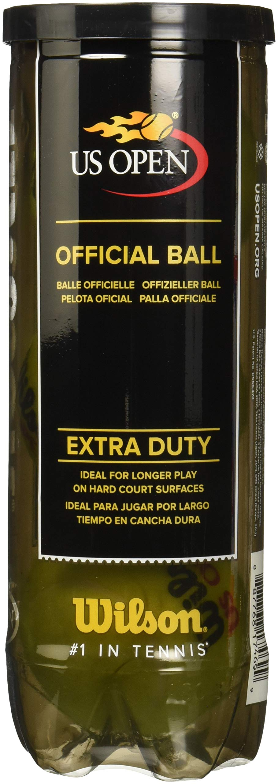 Wilson US Open Extra Duty Tennis Ball (4-Pack), Yellow