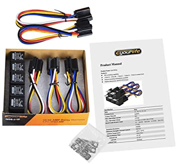 71b88jeVKlL._SX355_ amazon com eyourlife 5 pack 30 40 amp auto relay harness with Fan Center Relay Five Wire at bakdesigns.co