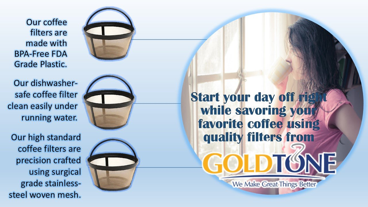 GoldTone Brand Reusable 8-12 Cup Basket Coffee Filter fits Hamilton Beach Coffee Makers and Brewers. Replaces your Hamilton Beach Reusable Coffee Filter - BPA Free [2 PACK]