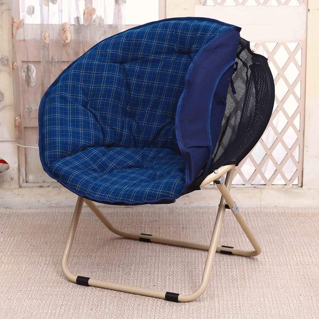 Zcxbhd Sling Chair Mond Falten Sonnenliege Faul Salon Rückenlehne Sofa zum Haushalt draussen Camping (Farbe   braun) Blau