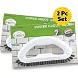 Grout Cleaner Brush with Stiff Bristles (2PK) – Clean Whiten Dirty Grout Lines – Durable Hard Scrubbing for Tile Floors – Com