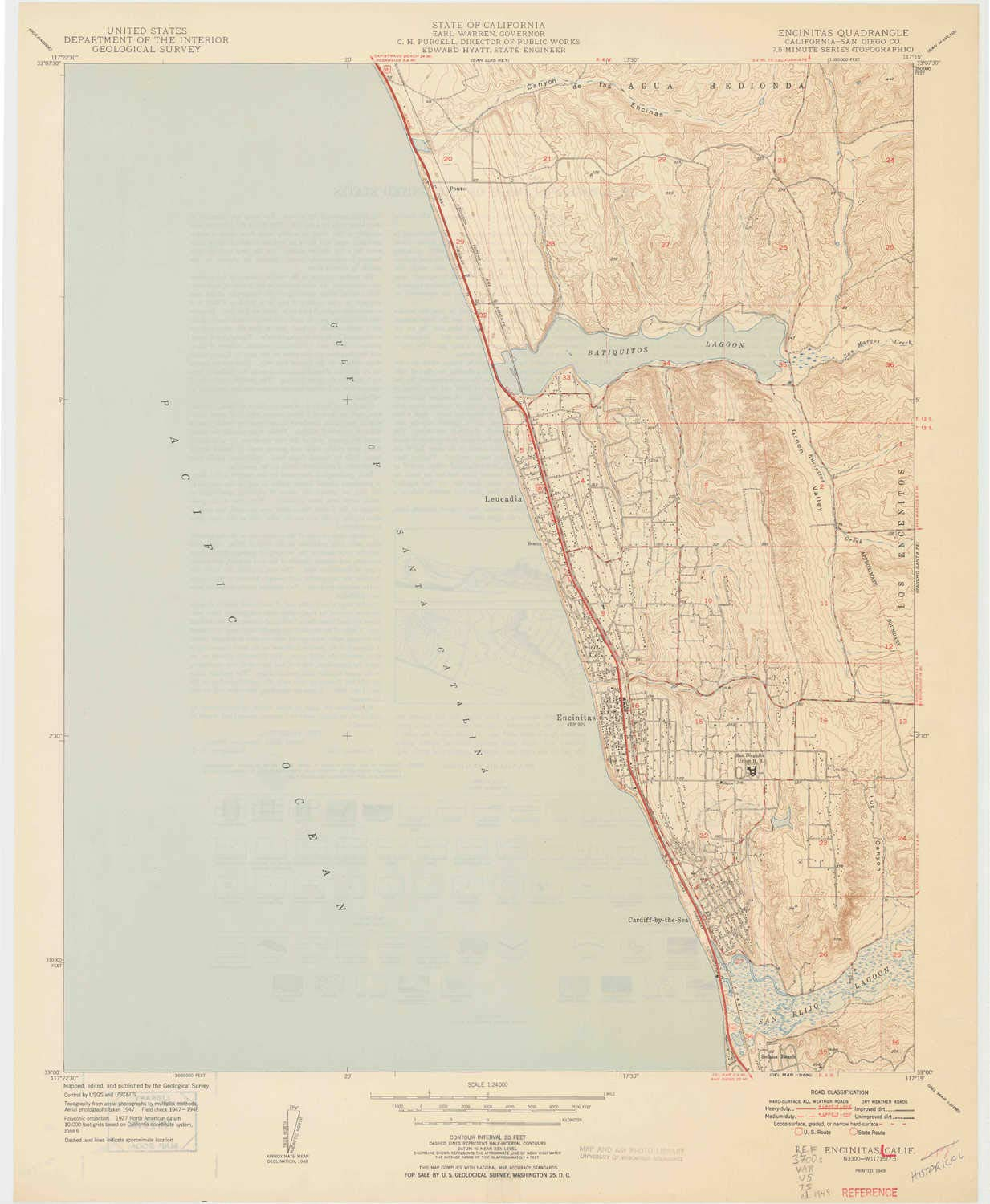 7.5 X 7.5 Minute 27.1 x 22.3 in Historical Updated 1949 1:24000 Scale YellowMaps Encinitas CA topo map 1949
