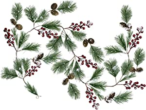 Supla 5.9 Feet Seasonal Artificial Rustic Snowy Pine Needle Red Berry Clusters Mini Pine Cones Garland Christmas Garland Hanging String Wire Vine for Holiday Winter Indoor Outdoor Decor