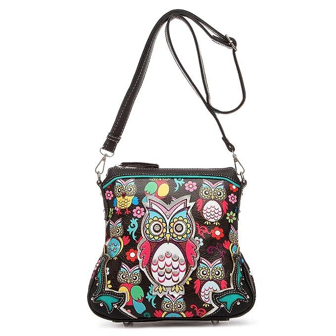 Amazon.com: Búho Impreso Mini bolso niña Crossbody moda solo ...