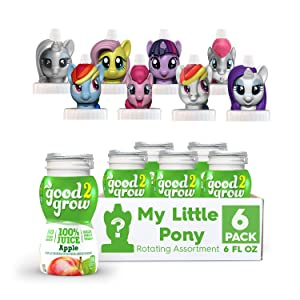 good2grow My Little Pony Rotating Character 6 Pack 100% Apple Juice, 6-Ounce Spill Proof Character Top Bottles,Non-GMO with no Sugar Added and Excellent Source of Vitamin C Character Tops May Vary