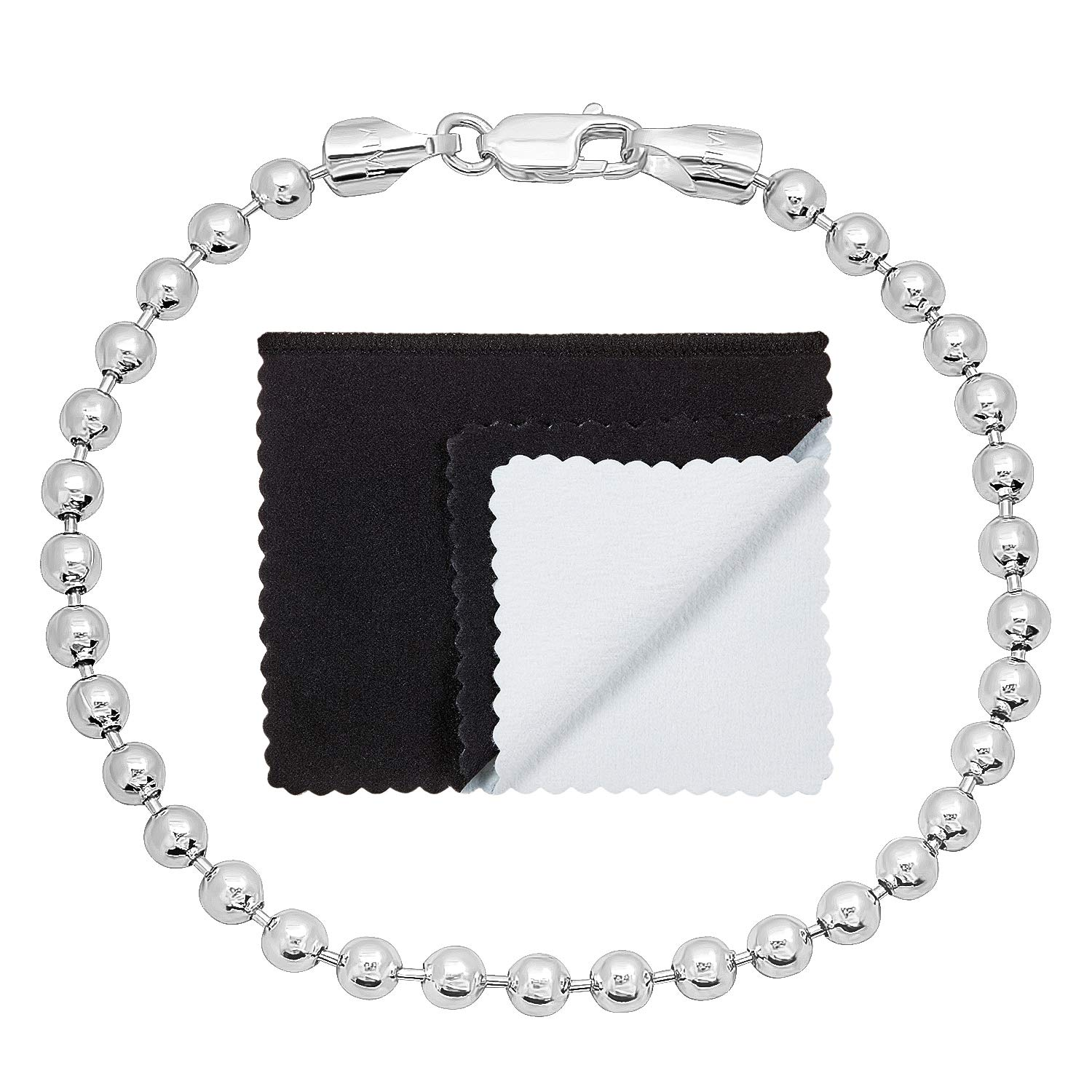 4mm Real 925 Sterling Silver Nickel-Free Military Ball Bracelet, 7'' - Made in Italy + Cleaning Cloth