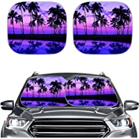 NETILGEN Car Front Window Cover, Foldable Sunshade for Car, Beach Coconut Damage Free Blocks UV Sunlight Protector…