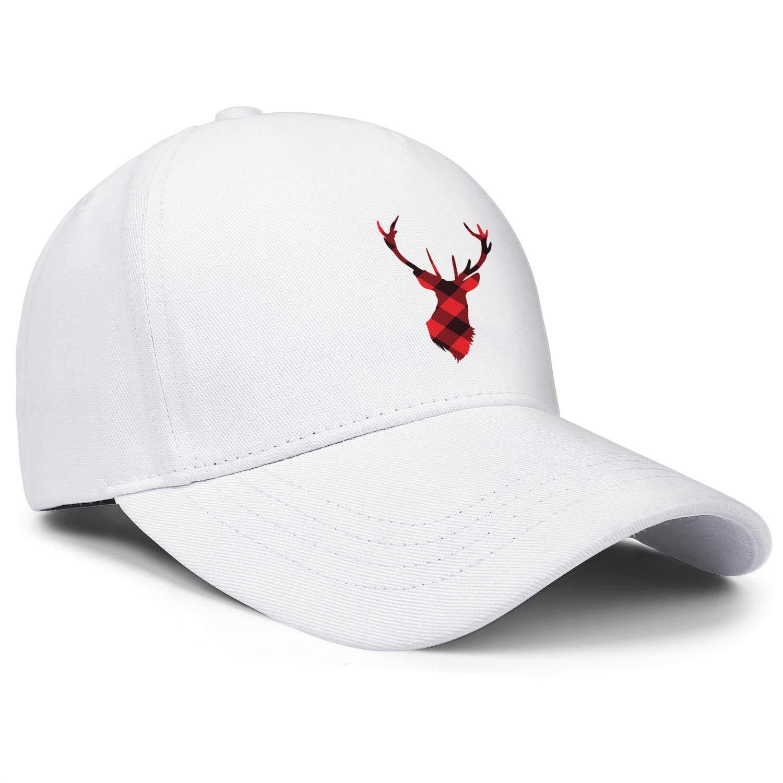 Plaid Reindeer Moose Unisex Baseball Cap Polyester Running Hats Adjustable Trucker Caps Dad-Hat