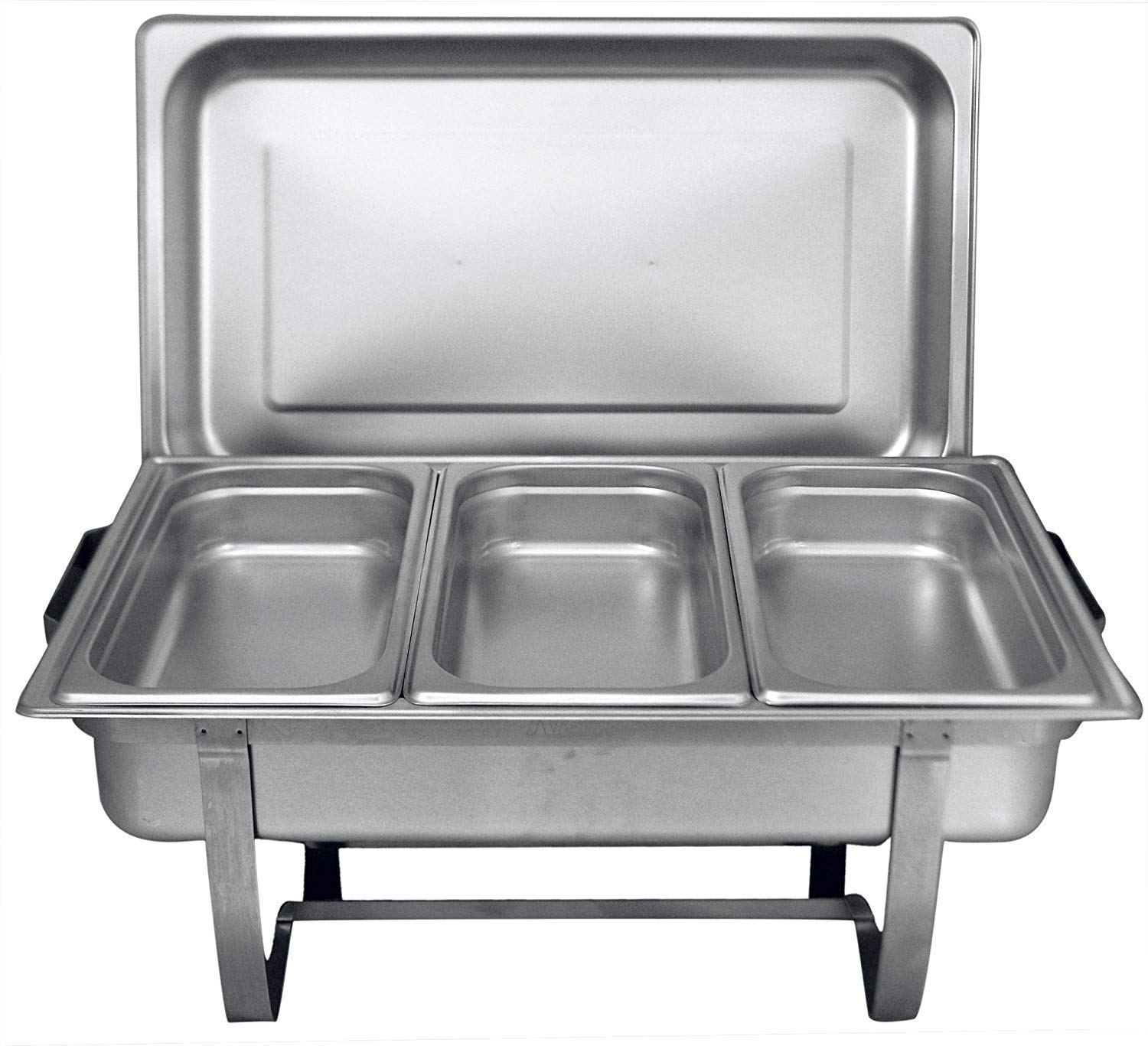 Tiger Chef 8 Quart Full Size Stainless Steel Chafer with Folding Frame and 3 1/3rd Size Chafing Dishes Food Pans and Cool-Touch Plastic on Top by Tiger Chef