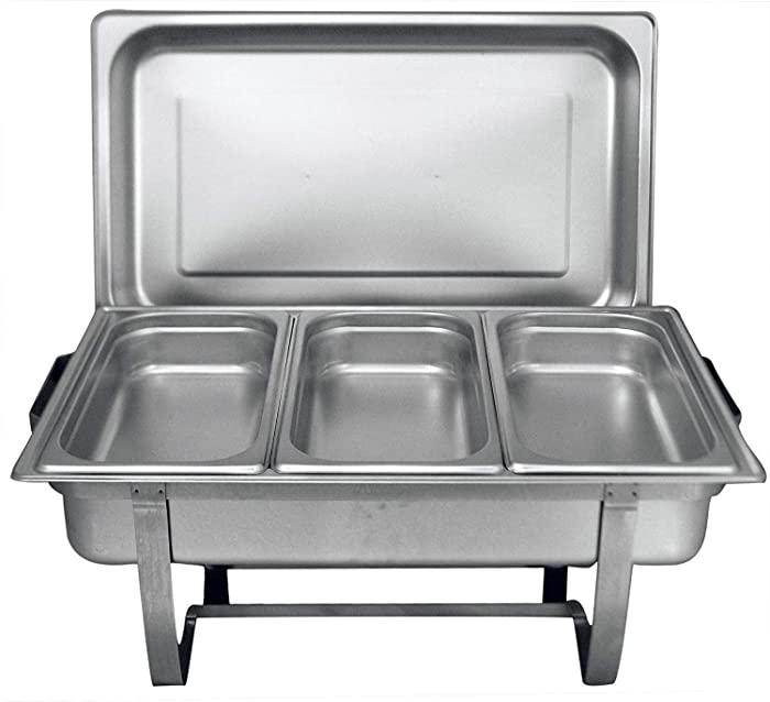 Tiger Chef 8 Quart Full Size Stainless Steel Chafer with Folding Frame and 3 1/3rd Size Chafing Dishes Food Pans and Cool-Touch Plastic on Top