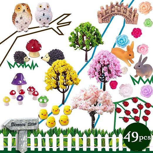 coardor adornos de jardín de hadas miniatura erizo seta búho árbol puente conejo pollito Signpost diseño
