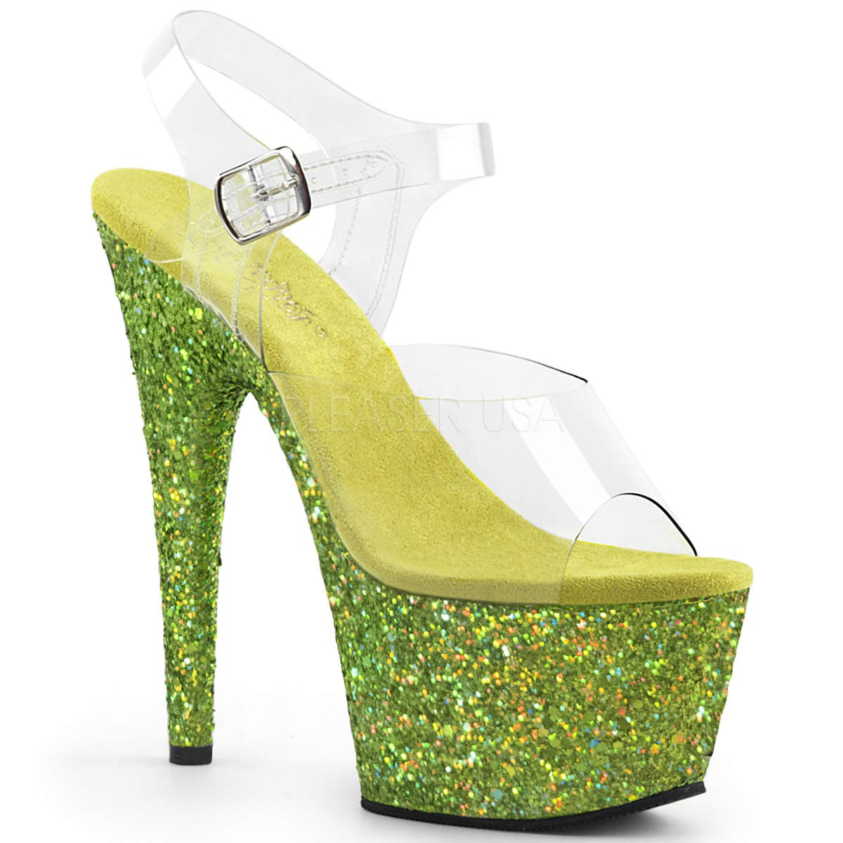 Women's Adore Clear Open Toe Top Lime Glitter Platform Sandals - DeluxeAdultCostumes.com
